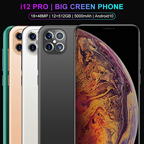 Mobile Phone, i12pro Android 10.0, 5G Smartphone SIM Free Phones Unlocked, 6.6 inch Dewdrop Full Screen, 5000mAh Big Battery Fast Charge, 18MP+48MP Triple Camera, 12GB+512GB, Fingerprint, Face ID