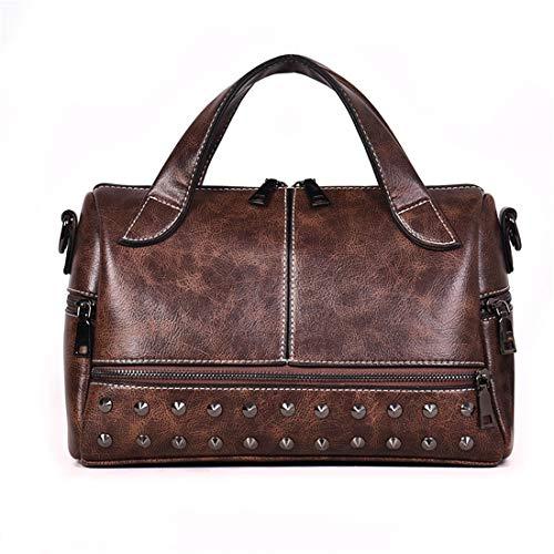 Women's Rivet Boston Bag Retro Handbag Shoulder Bag Top Handle Handbags(251-Brown)