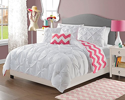 4 Piece Girls White Pinch Pleated Comforter Twin Set, Beautiful Diamond Pattern, Pin Tucked Bedding, Pretty Fun Horizontal Chevron Style, All Over Pintuck Puckered Themed, Solid Salmon Coral Hot (Pink Cheveron)