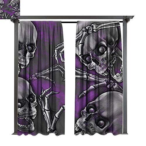 bybyhome Porch Curtains Skull Scary Creepy Spooky Happy Smiling Skeleton with Boned Hand Artwork Print W120 xL84 Suitable for Front Porch,pergola,Cabana,Covered Patio ()