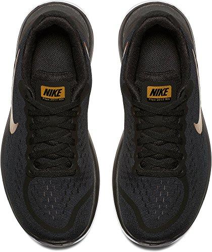 Nike Kids Flex 2017 Rn (gs) Scarpa Da Corsa Nero / Metallizzato Oro-bianco