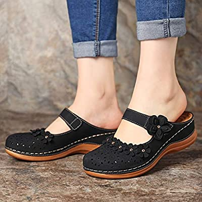 Driuankeji Summer Shoes for Women Girls Cute Flower Hollow Closed Toe Sandals Ladies Comfortable Soft Sole Shoes: Clothing