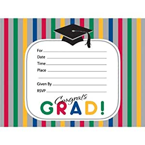 amazon com graduation stripes invitations toys games