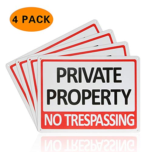 CESHUMD Private Property No Trespassing Metal Sign (4 Pack), 7x10 Inches Indoor/Outdoor Use for Home Business Security Alert, Reflective, UV Protected & Waterproof