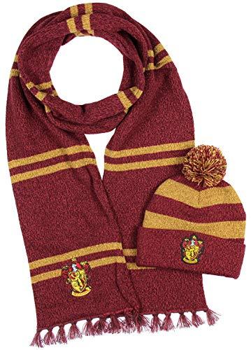 Harry Potter Hogwarts Houses Knit Gryffindor Scarf & Pom Beanie Set (Gyffindor) (Gryffindor House Scarf)