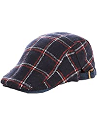 Kids IVY newsboy Cap Tarton Woolen Flat Cap Duck Bill Hat Irish Cap