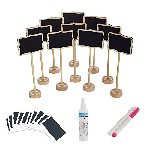 officematters Mini Chalkboard with Stand for Message Board Signs, Rectangle, Pack of 10 (Printable Candy Wrappers)