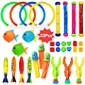 Aekce Underwater Swim Pool Diving Toys 33 Pcs Summer Swimming Diving Toy Sets Diving Rings Sticks Octopus Torpedo Bandits Fish Grass For Kids