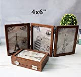 leoyoubei 4x6'' folding frame Triple Duplex Frame 6 photos show silver-color Hinges -Folding Photo Frame With Glass(brown)