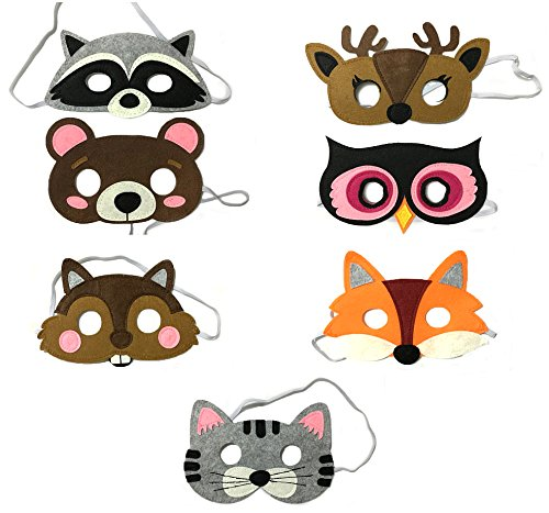Lilly and the Bee Novelties Forest Friends Felt Animal Mask 7 Piece Party Pack -