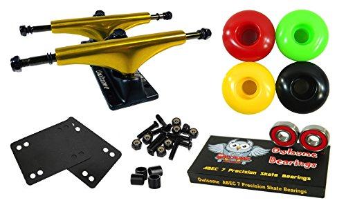 Owlsome 5.25 Metallic Gold/Black Aluminum Skateboard Trucks w/52mm Wheels Combo Set - Wheels Skateboard Gold