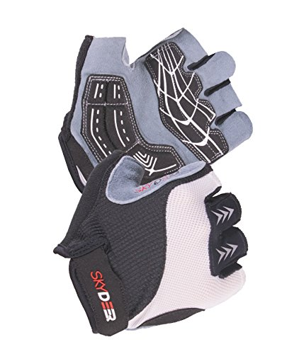 SKYDEER Fingerless Gloves with Gel Padding and Deerskin Leather Suede Palm for Weight Lifting, Cycling, Workout, Fitness, Exercise, Gym, Cross Training (SD2110-W/L)