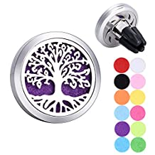 Tree of Life Car Air Freshener Aromatherapy Essential Oil Diffuser Vent Clip Stainless Steel Locket with 12 Felt Pads