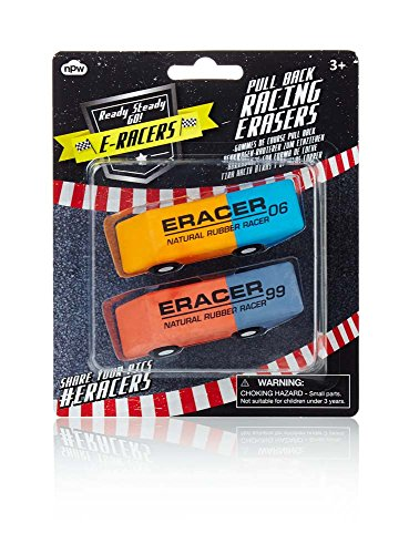 NPW Racing Eraser Cars, Set of 2 (NP16512) (Best Pranks To Pull At A Sleepover)