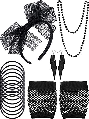 Blulu 80s Lace Headband Earrings Fishnet Gloves Necklace Bracelet for 80s Party (Black Style A)]()