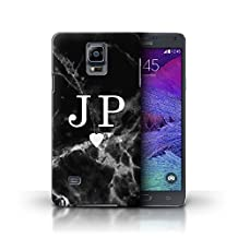 Personalized Black Marble Fashion Case for Samsung Galaxy Note 4 / Solid White Heart Design / Initial/Name/Text DIY Cover