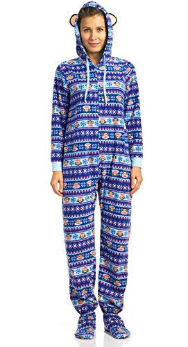 Paul Frank Classics 1 Piece Hooded Pajamas With Feet, Navy, - Pajamas Frank Paul Womens