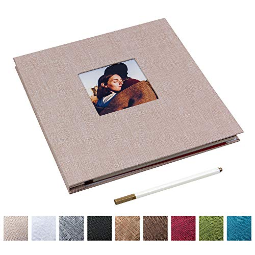 Self Adhesive Photo Album Magnetic Scrapbook Album 40 Magnetic Double Sided Pages Linen Hardcover DIY Photo Album Length 11 x Width 10.6 (Inches) with A Metallic Marker Pen (Beige)