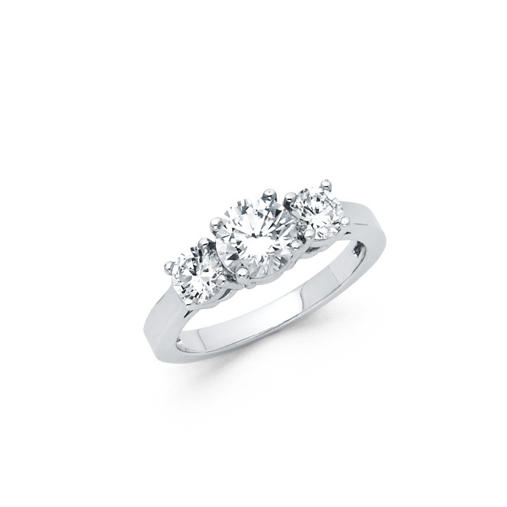 FB Jewels 925 Sterling Silver Polished 3 Stone Cubic Zirconia CZ Anniversary Wedding Engagement Ring