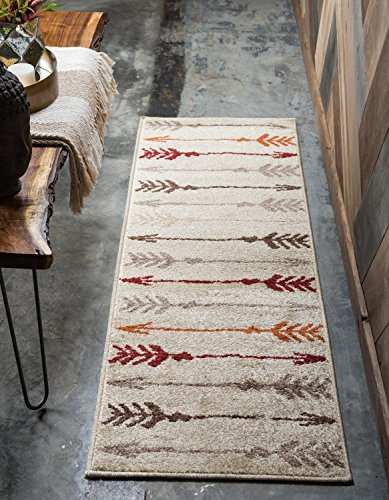 513G7pQ%2BGIL - Unique Loom Harvest Collection Abstract Transitional Beige Home Décor Runner Rug (3' x 10')