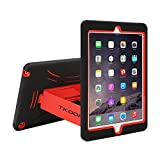TKOOFN Heavy Duty Silicon Defender Multilayer Protective Shell Military Shockproof Bumper Case Cover with Built in Stand for Apple iPad Mini 2 / Mini 3 [with Retina Display] + Screen Protector + Stylus + Cleaning Cloth, Black/Red - PT3403
