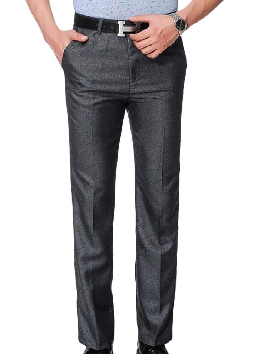 Winwinus Men Trim-Fit Straight-Fit Business No Iron Plain Front Pant