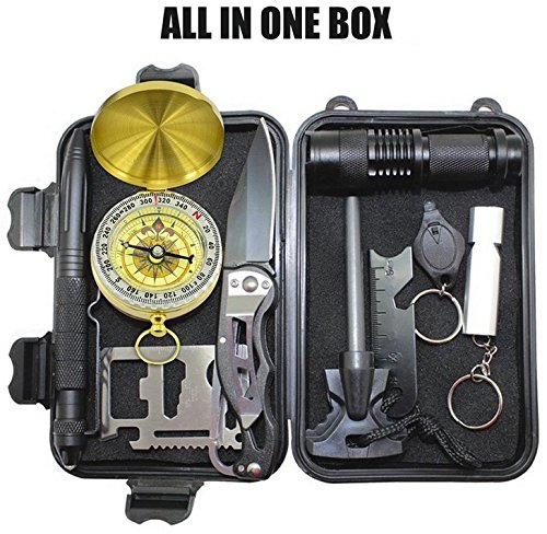 FixtureDisplays Emergency Survival Kits 11-in-1, Multi Professional Survival Tools Outdoor Survival Gear Kit for Traveling Hiking Biking Climbing Hunting 16854-NF