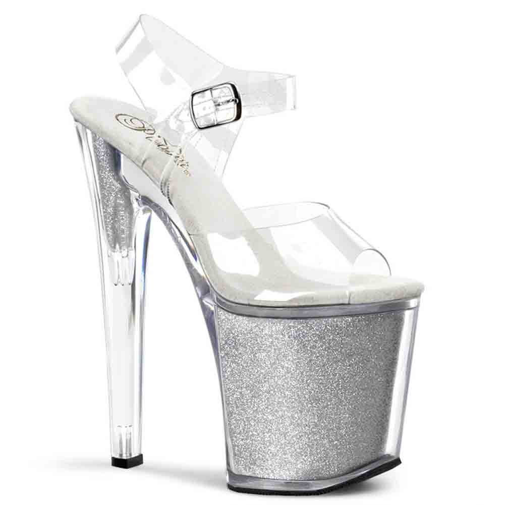 Pleaser Women's Xtreme-808BG Platform Sandal B00HV9QQKQ 8 B(M) US|Clear/Silver Glitter