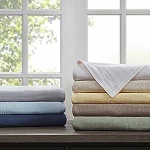 Madison Park Freshspun Basketweave Cotton Blanket Cream King