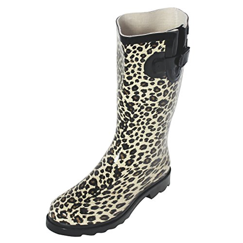(Own Shoe Womens Multiple Styles Rain Snow Winter Flat Rubber Mid Calf Short Rainboot (6M, Leopard))