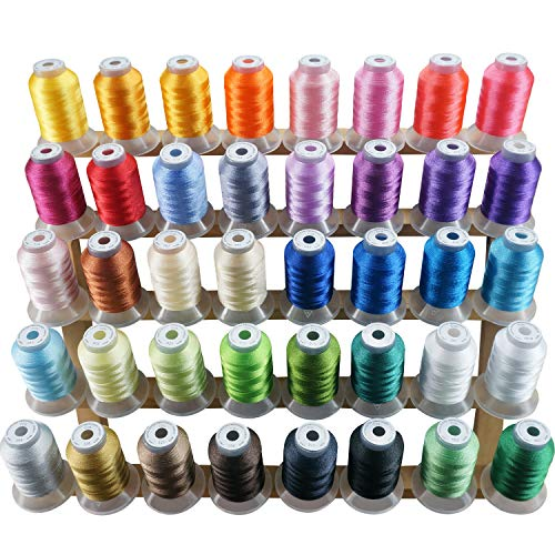 New brothread 40 Brother Colors Polyester Embroidery Machine Thread Kit 500M (550Y) Each Spool for Brother Babylock Janome Singer Pfaff Husqvarna Bernina Embroidery and Sewing Machines 40 Wt Rayon Thread