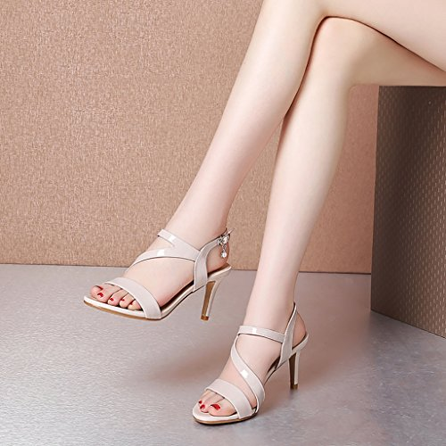 L Heel Sandals Female 245mm Slip Shopping EU39 Black Blue Beige Non Black Color UK6 PENGFEI Size Sandals Beige Summer and High Bq01UU