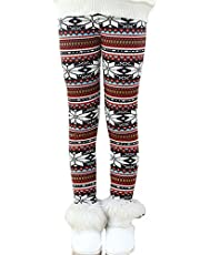 Fancy Youyee Toddler Kids Girls Pants Winter Thick Fleece Lined Christmas Leggings Tights