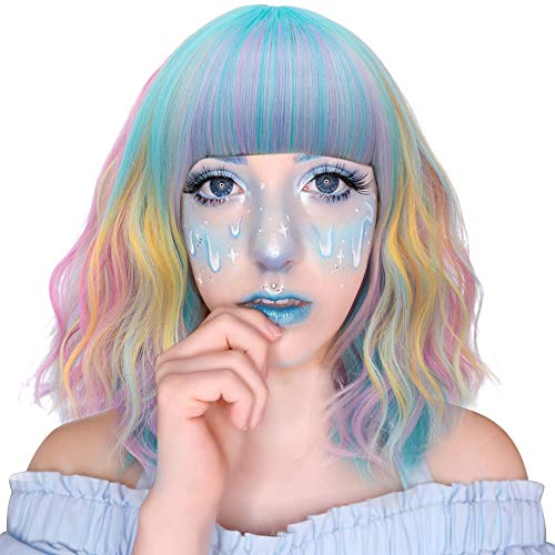(Probeauty Sweety Rainbow Collection Lolita 40CM Short Curly Women Lolita Anime Cosplay Wig + Wig Cap (Unicorn Candy)