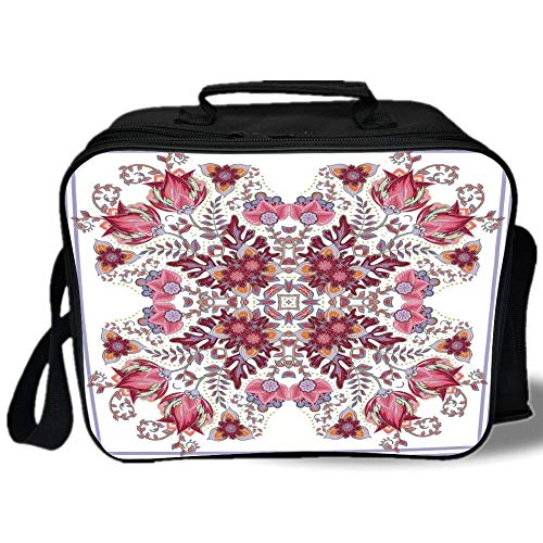 Insulated Lunch Bag,Batik Decor,Vintage Colored Spring Inspired Blooming Floral Motif Oriental Lace Bridal Art,Pink Lilac,for Work/School/Picnic, Grey