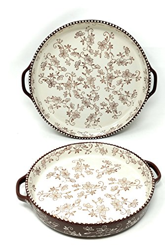 Temp-tations Set of 2 Pizza Deep Dish w/ Handles Tart Pan or Shallow Pie / Quiche 11 inch & 9 inch (Floral Lace Chocolate)