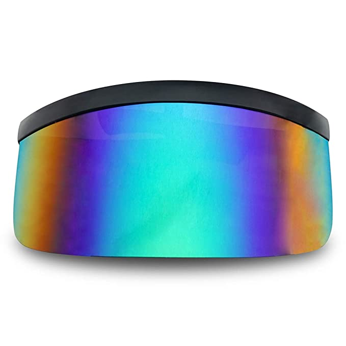 c9be84b1238 Matte Black Retro Futuristic Single Shield Color Oversized Visor Sunglasses  (Matte Black