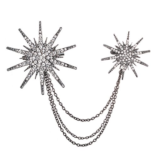 Meolin Crystal Rhinestone Star Brooch Pins with Chain Tassel Collar Pin