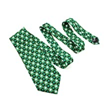 Shamrock Tie Celtic Necktie Checkered Irish Made, Green, 4 inch Wide