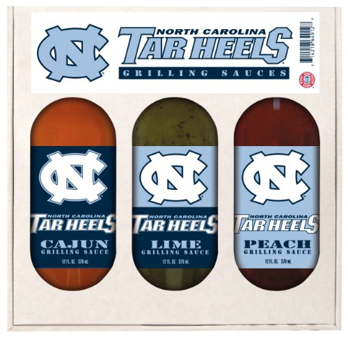 8 Pack NORTH CAROLINA Tarheels Grilling Gift Set 3-12 oz by Hot Sauce Harry's