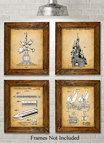 Original Disney Rides Patent Art Prints - Set of Four Photos (8x10) Unframed - Great Gift for Disney Fans