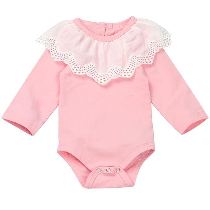 Amazon.com: Bebé recién nacido Niñas Ropa Encaje Volantes ...