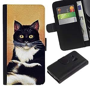 eJoy---La carpeta del tirón la caja de cuero de alta calidad de la PU Caso protector - Samsung Galaxy S3 MINI 8190 - --Cat Sitting Whiskers Shorthair Black White