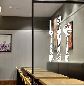 Lwfxc Cuchillo Tenedor Cuchara Calcomanías De Pared Cocina Panadería Tienda  Ventana Armario De Vidrio Decoración Pegatinas