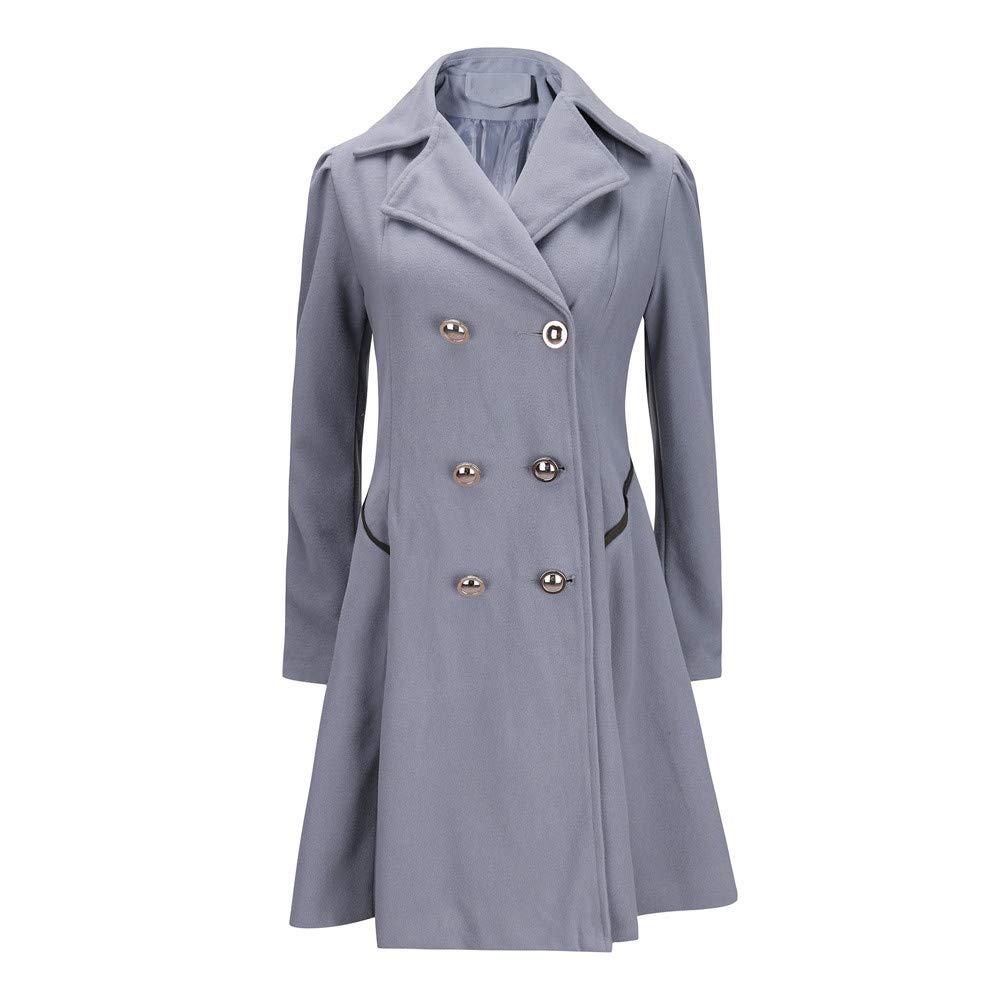 Byyong Womens Winter Warm Long Sleeve Ladies Lapel Stylish Long Parka Coat Trench Outwear Jacket