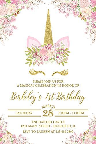 Unicorn Head Birthday Party Invitations, Printed Personalized Invitations