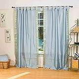 Gray Tab Top Sheer Sari Curtain / Drape / Panel – 43W x 63L – Pair
