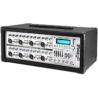 Pyle PMX802M 8-Channel 800 Watt Powered Mixer, AUX (3.5mm) Input, USB/SD Readers, LCD Display, Headphone Jack