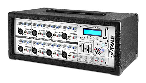 8-Channel Microphone System Powered Mixer - 800 Watts Power Peak AUX (3.5mm) Input Connector SD Memory Card & USB Flash Drive Readers 5-Band Graphic Equalizer LCD Display w/ Cooling Fan - Pyle PMX802M