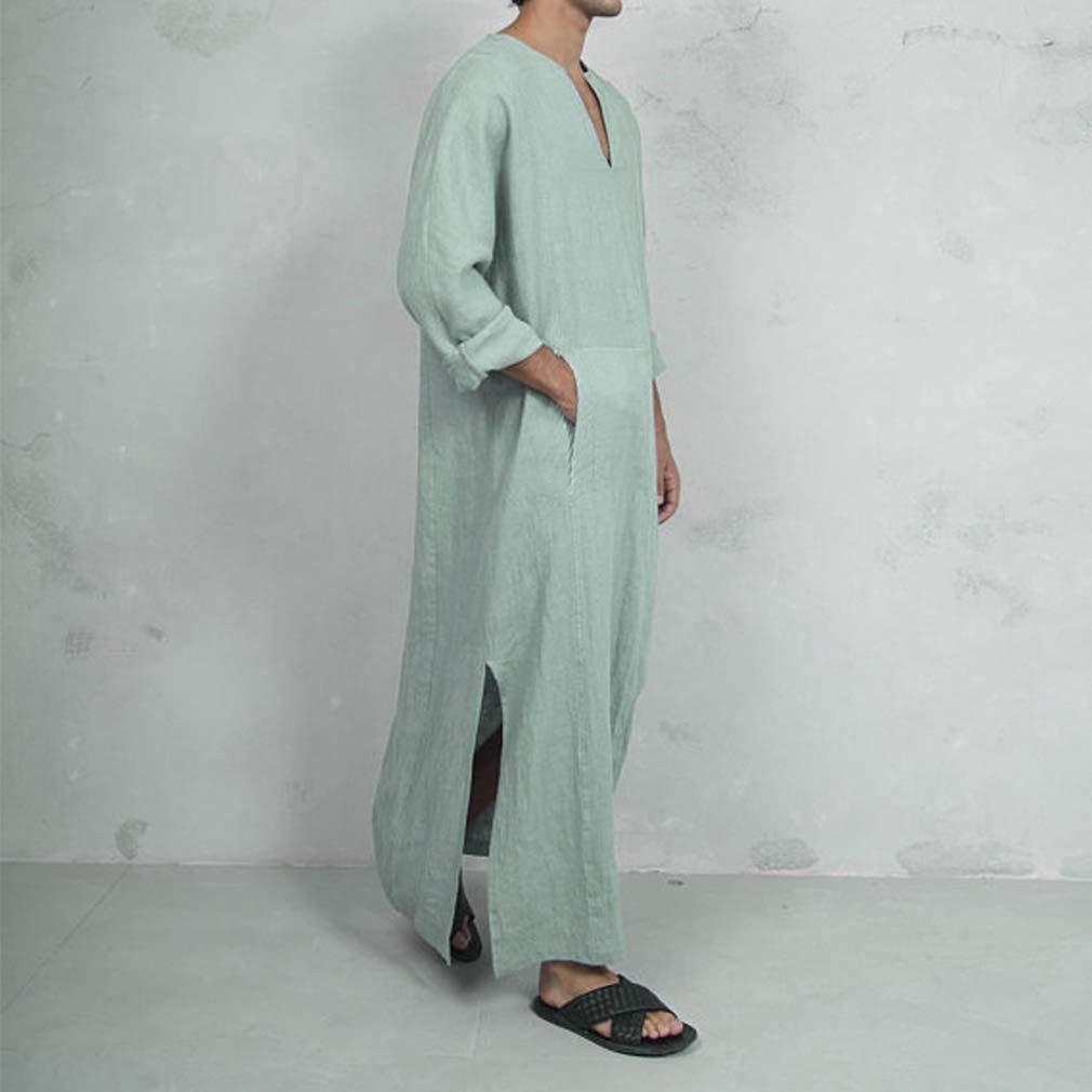 Hombre Musulmanes Kaftan Isl/ámico Abaya Suelto Algod/ón Lino T/única Clasico Oriente Medio Saudita Largo Camisa Arabe Dubai Jalabiya Maxi Vestido Indio Tradicional Manga Corta Ropa